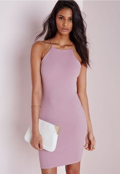 Get that totally standout figure in this chic mauve bodycon dress. With strappy 90's style neckline and fierce ribbed fabric this dress is a must-have addition to your wardrobe. Team with nude strappy heels and matching clutch for a luxe ...