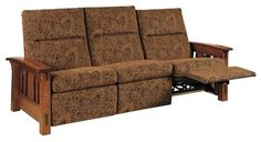 Amish McCoy Mission Wall Hugger Reclining Sofa Maximum comfort for the whole family. Custom furniture from Amish country means you can customize. Choose wood, stain, upholstery and more. #sofas #Amishfurniture Arts And Crafts Interiors, Arts And Crafts Furniture, Arts And Crafts House, Easy Arts And Crafts, Furniture Ideas, Loveseat Recliners, Sofas, Quarter Sawn White Oak, Art And Craft Videos