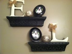 Master bathroom shelving from hobby lobby out daughters initial with pics of each of them cream black burlap bathroom decor