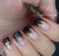 french nails tutorial Step By Step Black Gold Nails, Faded Nails, Glitter French Manicure, Gold Glitter Nails, Black Nail Art, Dark Nails, French Tip Nails, White Nails, French Manicures