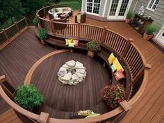 Deck complete with built-in seating and varied wood finishes