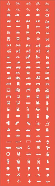 商用利用無料ベクター完備!陸海空の乗り物や交通関係のアイコン素材 -Transport Icons Pack | コリス