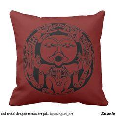 red tribal dragon tattoo art pillow Source by petriniotis Dragon Tattoo Art, Tribal Dragon Tattoos, Tattoo Diy, Molecule Tattoo, Love Tattoos, Custom Art, Decorative Throw Pillows, Canvas Art, Cushions
