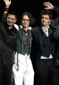 Chow Yun-Fat, Johnny Depp & Orlando Bloom. All of different age groups but all eye candy. Be calm my beating heart...