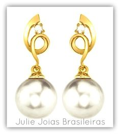 Brincos em ouro 750/18k, diamante e pérola (750/18k gold earrings with diamond and pearl)