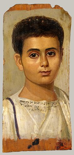 Portrait of a Boy, Egyptian, Roman period, c. 2nd century AD...only the wealthy could afford to have paintings of themselves