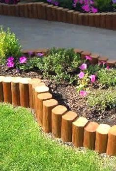 Garden edging is a fixed material that functions as a crisp border between beds and other areas. Various stylish garden edging ideas are available to build a well-designed landscape. Landscape Timber Edging, Landscape Borders, Landscape Timbers, Lawn And Landscape, Landscape Design, Garden Design, Timber Garden Edging, Wooden Garden Borders, Landscape Timber Crafts