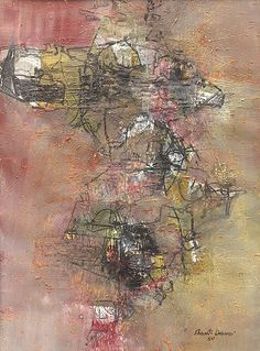 c. 1960 Work on paper, by; Shanti Dave [Indian, b. 1931], Oil on paper