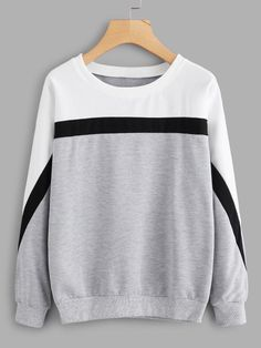 To find out about the Cut And Sew Sweatshirt at SHEIN, part of our latest Sweatshirts ready to shop online today! Cute Comfy Outfits, Cool Outfits, Fashion Outfits, Hoodie Sweatshirts, Pullover Sweaters, Sweatshirt Outfit, Fashion Design Template, Cool Hoodies, Looks Cool