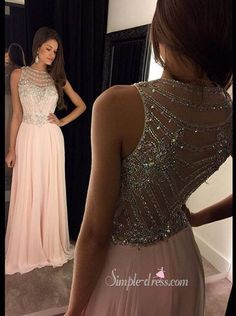 Beaded pink chiffon prom dress, long evening dress for teens, prom dress 2016
