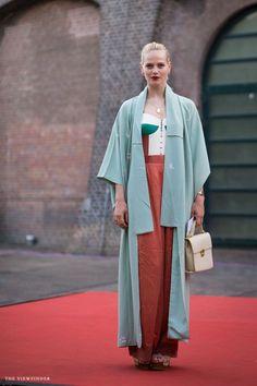 Mint Green // Kimono // Street Style well that is fairly amazing. a very chic kimono moment. Amsterdam.