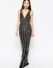 Forever Unique Diva Beaded Maxi Dress - Black £190.00 AT vintagedancer.com