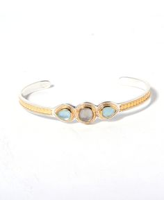 Anna Beck Aquamarine Smokey Quartz Cuff Bracelet