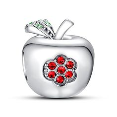 """Apple With Red Flower Charm Swarovski❤Use Coupon code """" PIN5 """" ,Get 5% OFF on all products on www.glamulet.com"""