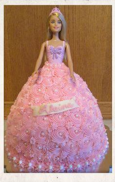 Barbie doll princess cake. All buttercream.