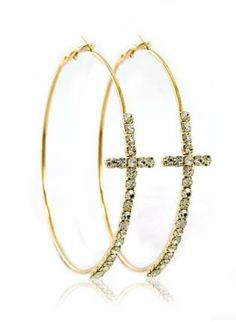 Gold Hoop - Gold Crystal Cross Hoop Earrings #earrings #hoops