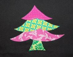 pink & green christmas tree shirt