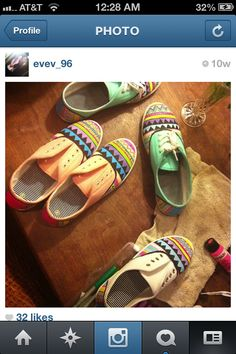 Hand painted Tribal print shoes