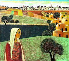 Al-Jeeb Village, 2012 LQ-Nabil Anani (Palestinian Artist) Palestine History, Palestine Art, Naive, Clarence Gagnon, Oriental, Folk, Pastel Pencils, Arabic Art, Egyptian Art