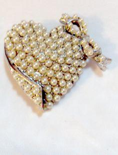 Vintage Faux Pearl Heart Pin Brooch by bitzofglitz4u on Etsy, $20.00