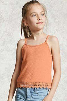 Girls crochet trim cami