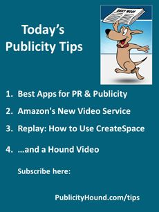 Publicity Tips–Best Apps for PR & Publicity:In the May 14 issue, busy #PR people rely on dozens of helpful #apps to help them do their jobs more quickly and efficiently. Here is a list of several dozen. Also, #contentcreators and visual #storytellers now have one more mega-site to publish their videos: #Amazon . If you missed Thursday's live webinar hosted by Joel Friedlander and Tracy Atkins on how to use #Createspace, Amazon's print-on-demand division, replay is now available…