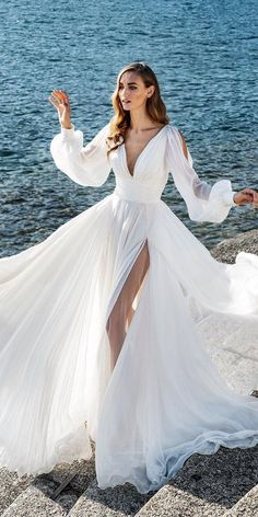 36 Chic Long Sleeve Wedding Dresses ❤ long sleeve wedding dresses simple plunging neckline for beach alessandrarinaudo Long Wedding Dresses, Boho Wedding Dress, Bridal Dresses, Wedding Bride, French Wedding Dress, Popular Wedding Dresses, Wedding Shot, Luxury Wedding Dress, Casual Wedding