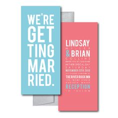 Blue and Pink Wedding Invitations, Typography