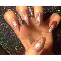 Pale Orange Holo Nails -CHOOSE YOUR SHAPE- Set of 20 Fake nails, false... ($22) ❤ liked on Polyvore featuring beauty products and nail care