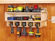 Shed Organization, Storage Organizers, Woodworking Organization, Organizing Tools, Charger Organization, Shelf Organizer, Organising, Wood Magazine, Cordless Tools