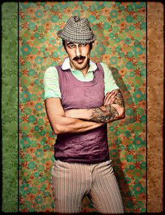 Love this portrait!  #vintage background #trilby #houndstooth #tattoo #papa bear #retro