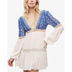 Free People Deep V-Neck Peasant Dress ($148) ❤ liked on Polyvore featuring dresses, ivory, deep v neck dress, mini dress, free people dresses, white day dress and white peasant dress