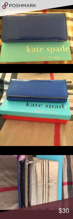 Kate Spade Wallet Blue Late Spade Wallet with gold interior. Well loved with original box included. kate spade Bags Wallets