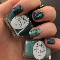 Ciaté London Part-time Mermaid and Roll Up, Roll Up nails with MoYou London stamping from Sci-Fi 05 plate. ~ Dark green and light green nails