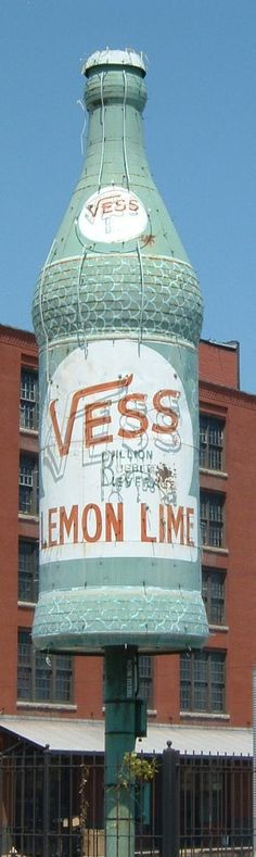 Vess Lemon Lime ~ Huge Advertising Figural Bottle Sign. St. Louis MO