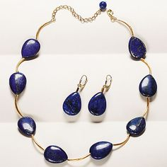Lapis Ovals Jewelry 23x16mm lapis ovals with 22k gold-plated sterling silver tube beads