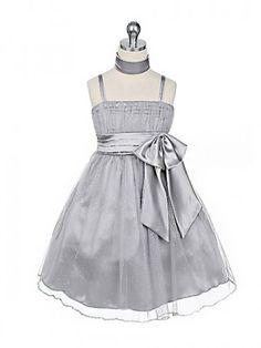 Silver Glittering Charmeuse Flower Girl Dress (Sizes 4-18) - Flower Girl Dresses - GIRLS