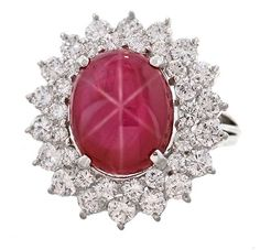 10.19 Carat 'No Heat Burma' Star Ruby Ring, ca. mid-to-latter 20th century.
