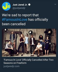 Freeform cancelled series and its official! Can't believe that we won't have a season they deserve the biggest… Famous In Love, Just Jared Jr, Bella Thorne, Season 3, Believe, Sad, Movie Posters, Film Poster, Billboard