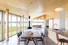The 'Sluice Point' house sits on the southern tip of Nova Scotia, a maritime province of eastern Canada. Designed by architect Omar Gandhi, the house. Game Room Decor, Room Setup, Design Hotel, Gandhi, Modern Lake House, Villa, Nova Scotia, Ceiling Design, Modern Interior Design