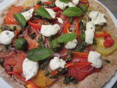 """Gartenpizza mit Pesto und Macadamia-""""Käse"""", vegan, sojafrei, laktosefrei, Clean Eating"""