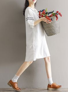 1ad05917a06 Mori Embroidery Bow Solid Lantern Long Sleeve O-Neck Dress