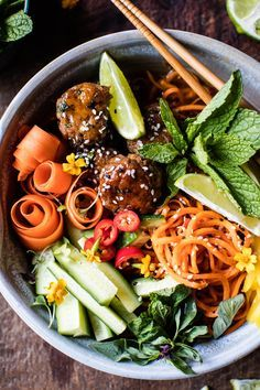 Vietnamese Meatball and Sweet Potato Noodle Bowl - Perfect, healthy, quick and easy Monday dinner bowl - From halfbakedharvest.com