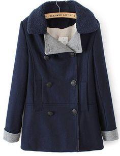 Navy Lapel Long Sleeve Double Breasted Woolen Coat US$63.69