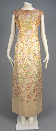 MARC BOHAN for CHRISTIAN DIOR CHINE SILK EVENING DRESS, c. 1963