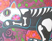 Colorful Day of the Dead Cat on Tree Branch with Roses 9x12 Sharpie Drawing Colorful Sugar Skull Cat Art, Dia De Los Muertos Alternative Art