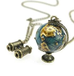 Sales - Travel Around Globe necklace telescope movable gift for her him birthday holiday valentines day. $3.99, via Etsy.