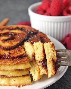 These Paleo Cinnamon Roll Pancakes are fun, easy, and so delicious! Fluffy pancakes with a sweet cinnamon swirl that are gluten free and dairy free! This post is sponsored on behalf of Bob's Red Mill. Cinnamon Swirl Pancakes, Cinnamon Rolls, Cinnamon Swirls, Paleo Pancakes, Fluffy Pancakes, Gluten Free Desserts, Delicious Desserts, Paleo Breakfast, Breakfast Recipes
