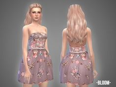 The Sims Resource: Bloom - dress by April • Sims 4 Downloads