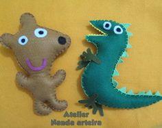 Teddy e Sr Dinossauro em feltro